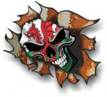 Ripped Torn Metal Rusty Design With Wales Welsh CYMRU Skull Motif External  Car Sticker 105x130mm